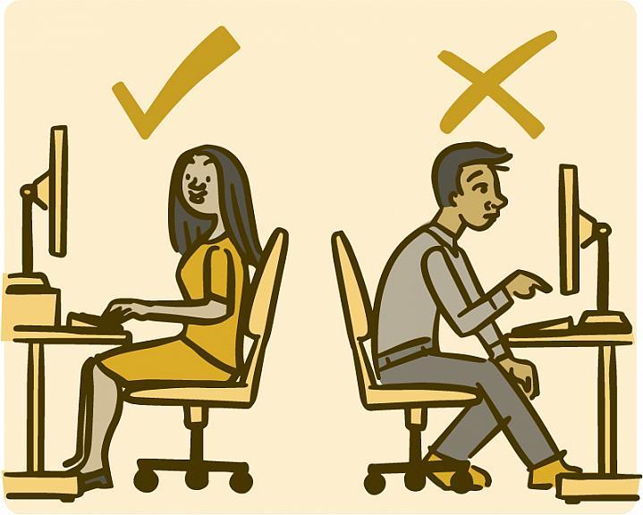 Illustration of proper and improper posture while sitting at a desk