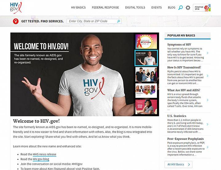 Screen capture of the hiv.gov website
