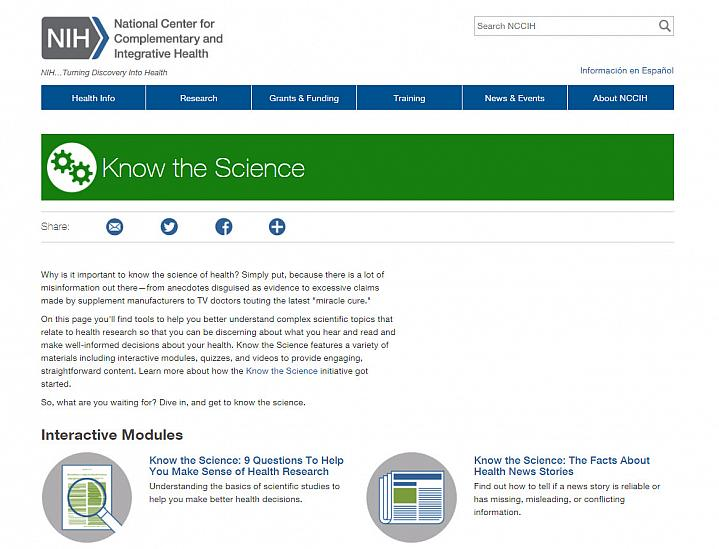 Screenshot of the Know the Science website