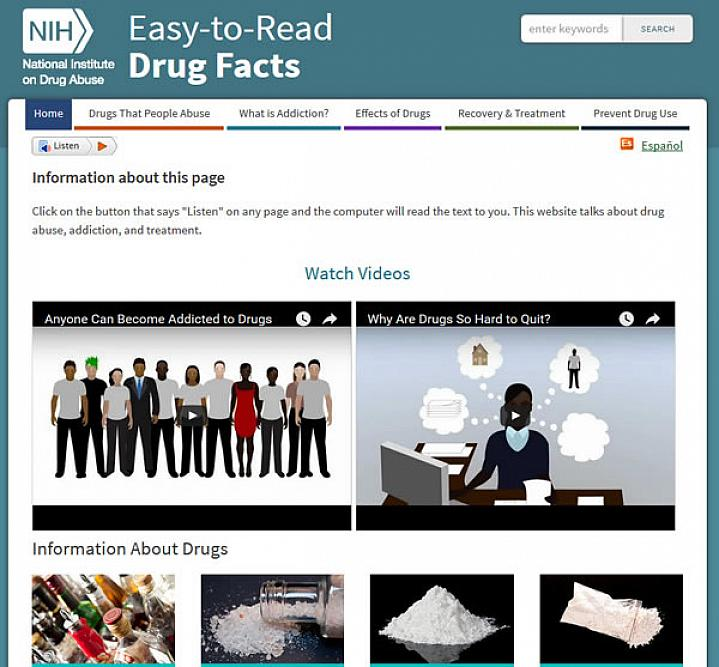 Screen capture of NIH's Easy-to-Read Drug Facts website.