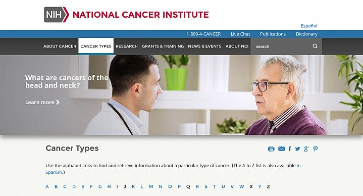 Screen capture of NIH's Types of Cancer web page.