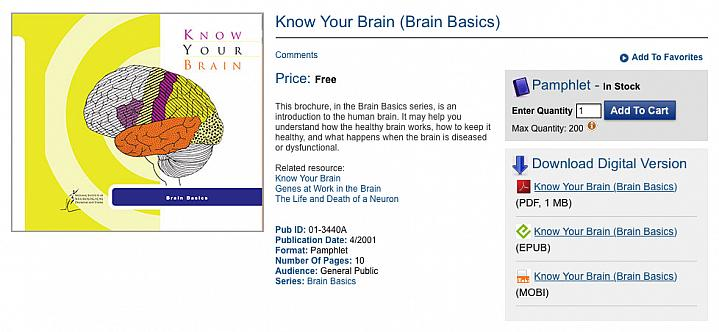 Screen capture of NIH's Free eBooks on Health catalogue.