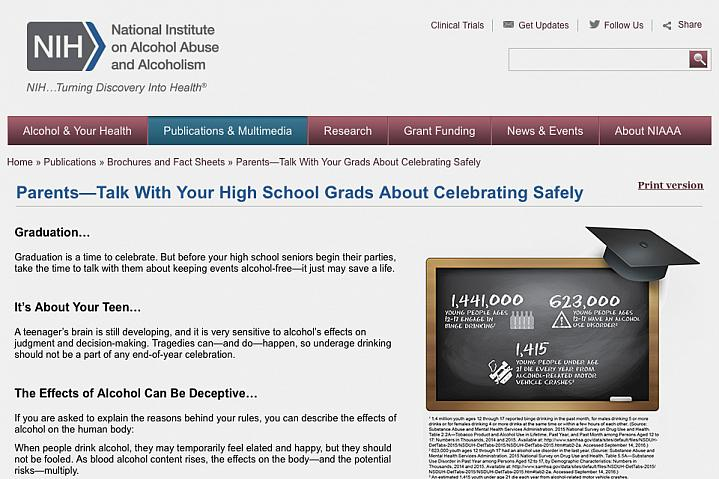 "Screenshot the NIH factsheet ""Parents—Talk With Your High School Grads About Celebrating Safely""."