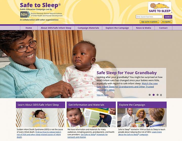 Screen capture of NIH's Safe to Sleep website.