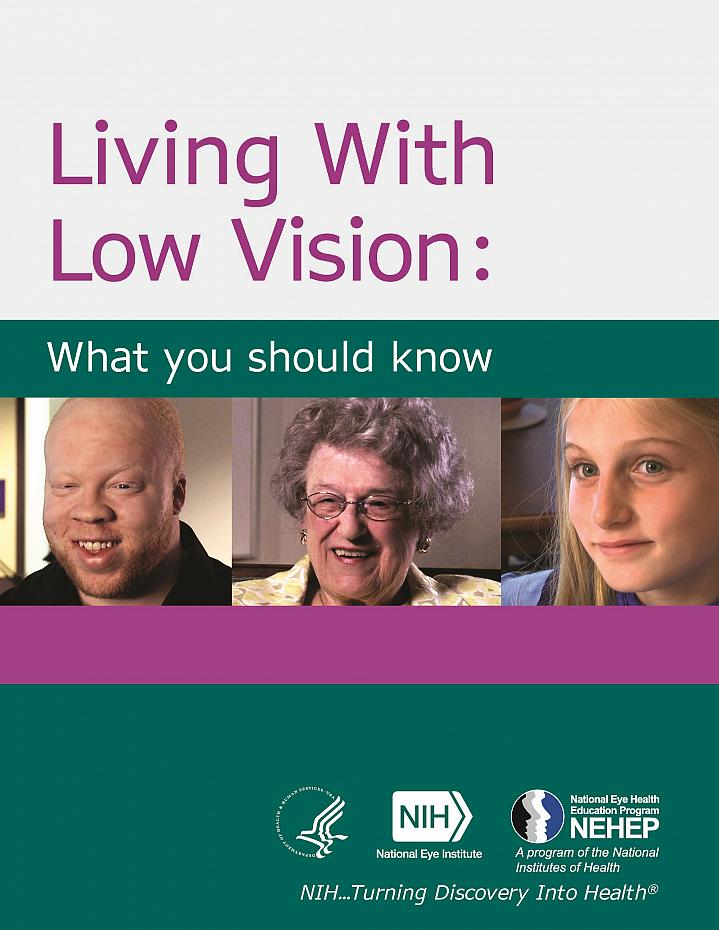 Cover of Living With Low Vision: What you should know booklet.