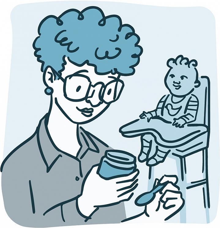 Illustration of mom reading ingredients on a jar of food while baby waits in high chair.