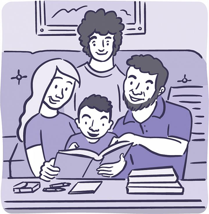 Illustration of family reading with child