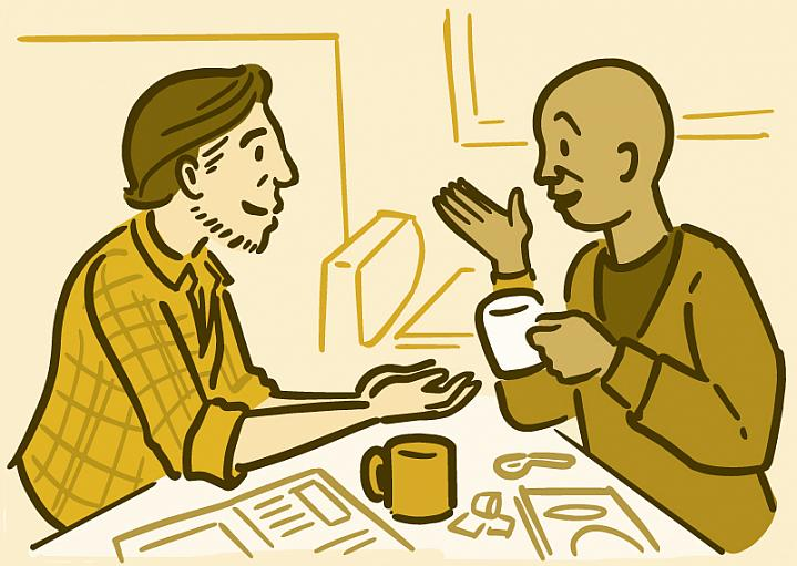 Illustration of two men having coffee and talking