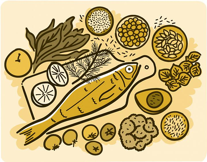 Illustration of healthy foods