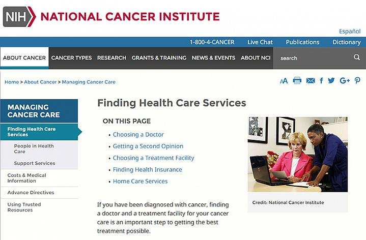 Screenshot of the finding cancer health care services website