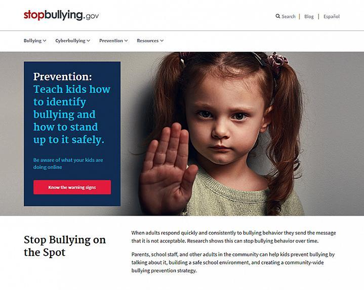 Screenshot of stopbullying.gov