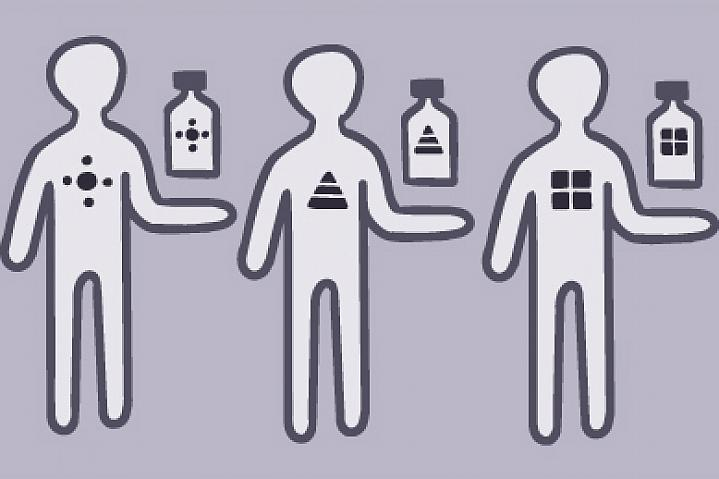 Illustration of people holding medication.