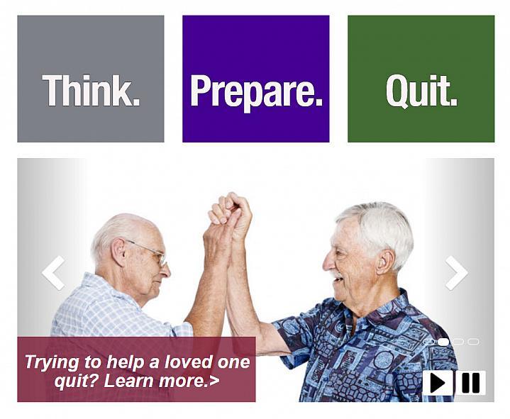 Screenshot of the Smokefree 60 plus website