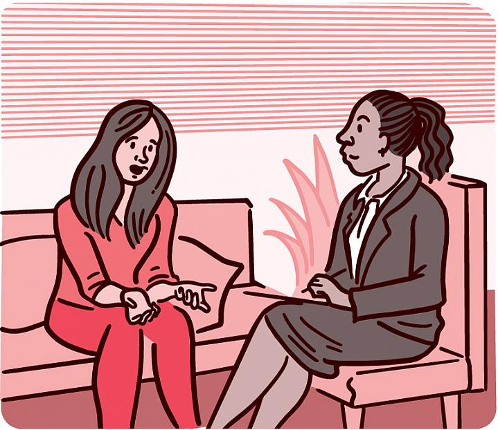 Illustration of a woman talking with a mental health professional