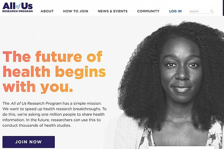 Screenshot of All of Us website