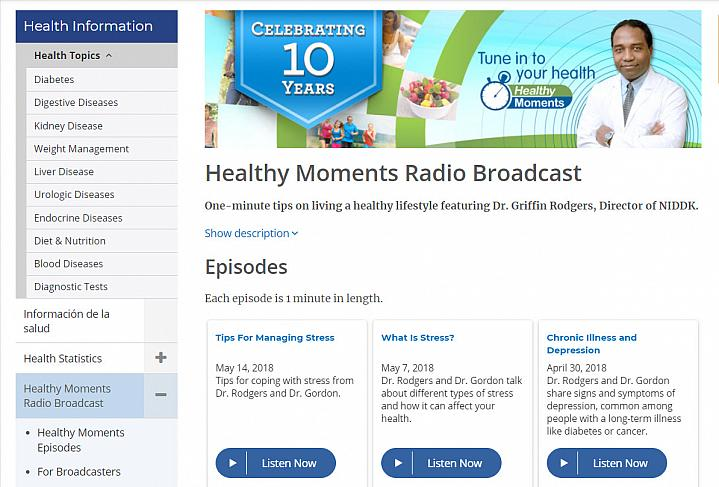 Screenshot of the healthy moments radio website