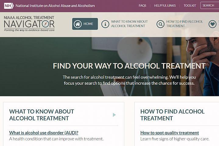 Screenshot of the Alcohol Treatment Navigator website