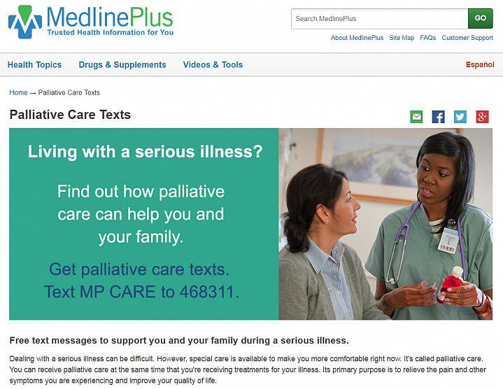 Screenshot of the palliative care text website