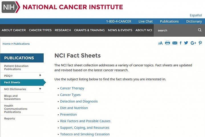 Screenshot of the Cancer Fact Sheet website