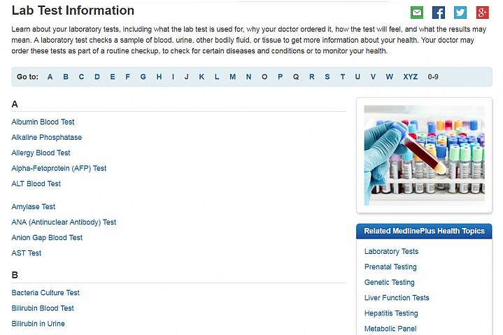 Screenshot of the lab test information website