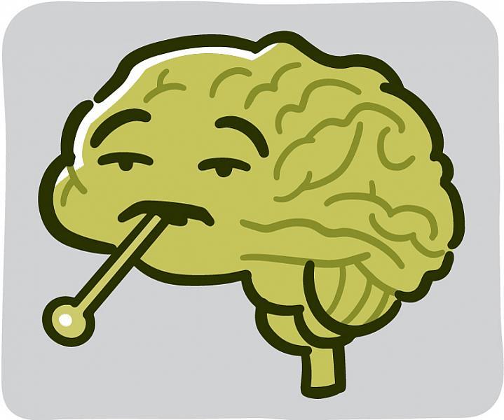 Cartoon brain feeling unwell