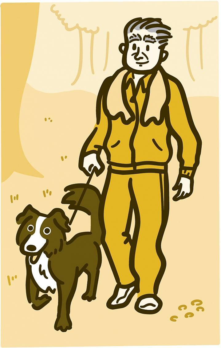 Illustration of a man walking his dog