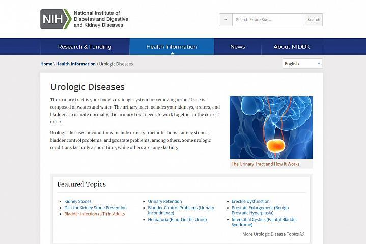 Screenshot of the Urologic Diseases website
