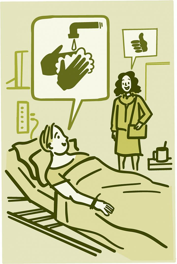 Illustration of a patient asking hospital visitor if they washed their hands