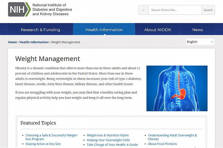 Screenshot of the weight management website