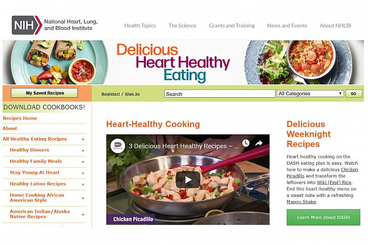 Screenshot of the Delicious Heart-Healthy Eating website
