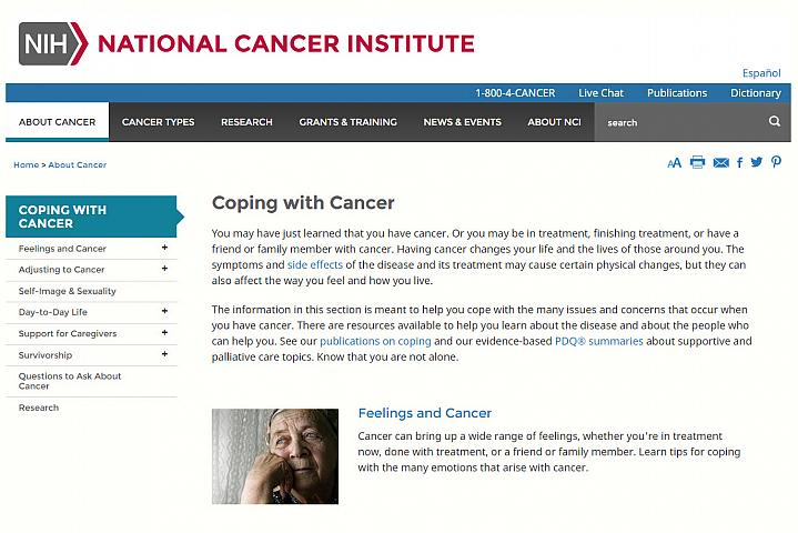 Screenshot of the coping with cancer website