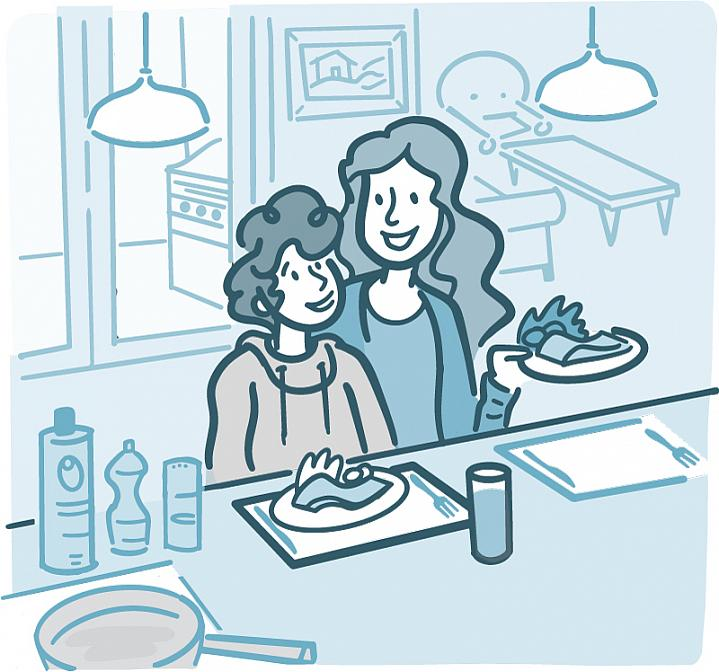 Illustration of a woman and child eating a healthy dinner