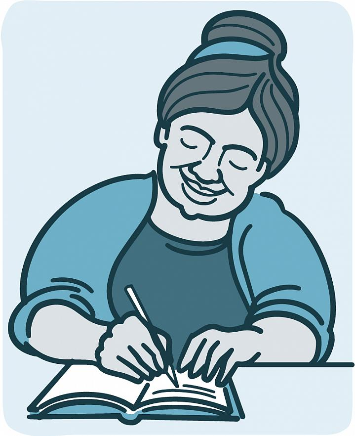 Illustration of a woman journaling