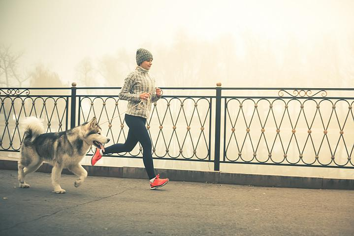 Woman jogging with a dog