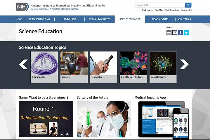 Screenshot of the NIBIB science education website