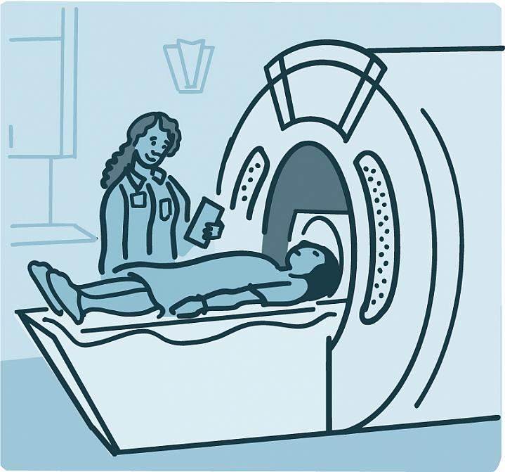 Illustration of a person getting an MRI scan