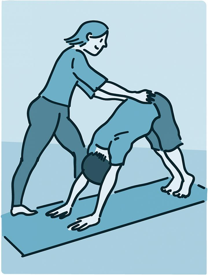 Illustration of a yoga instructor helping a student with a yoga position