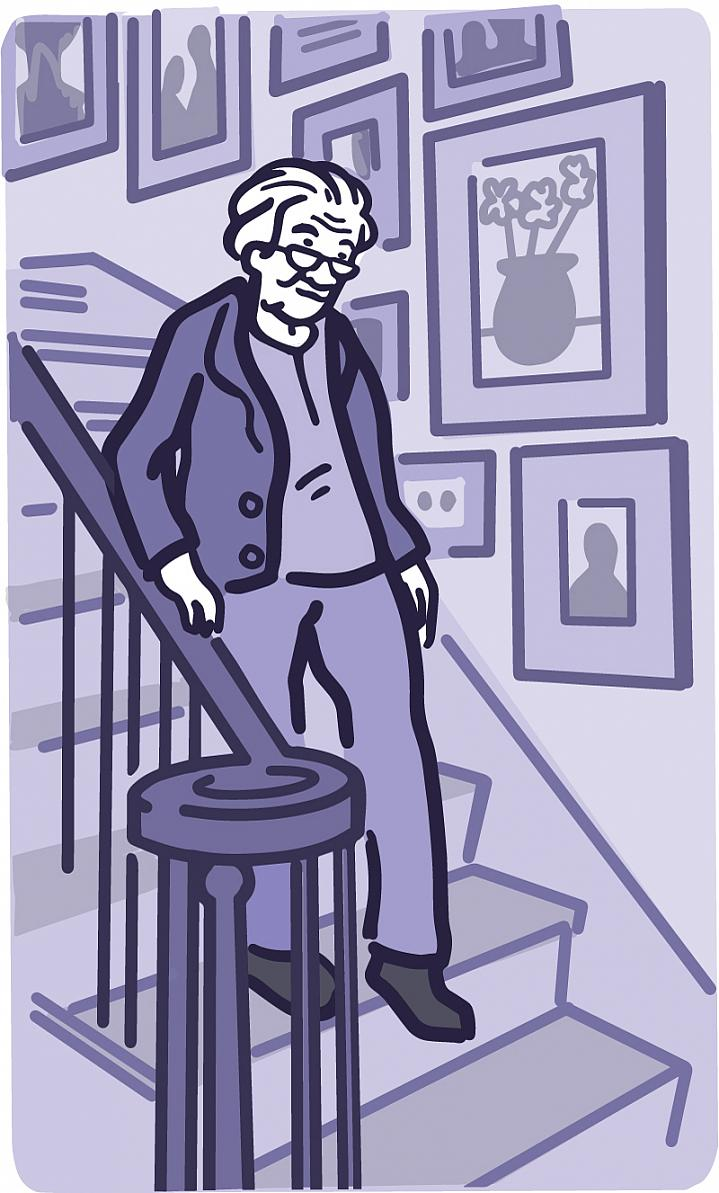 Illustration of an older adult holding the handrails when using the stairs