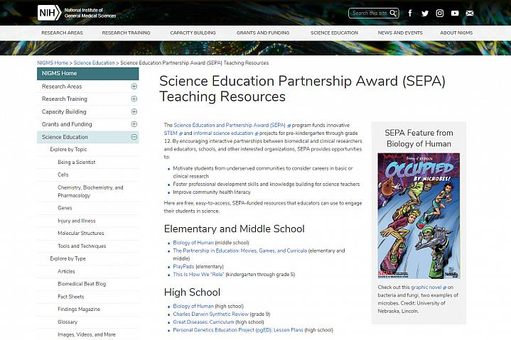 Screenshot STEM teaching tools website