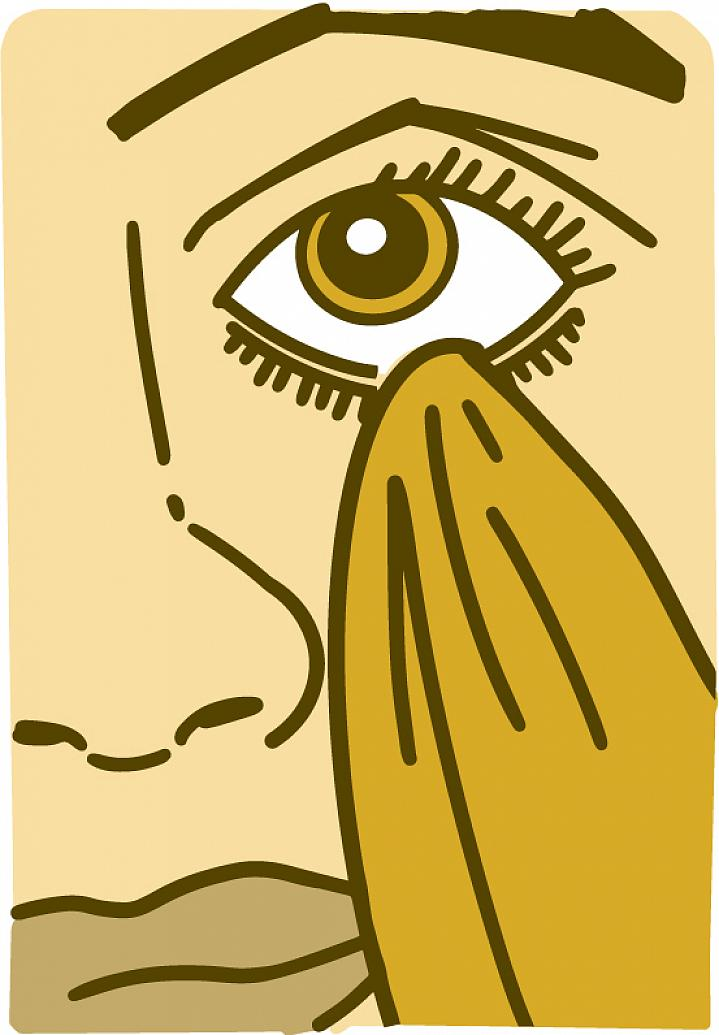 Illustration of a person cleaning their eyelid with a washcloth