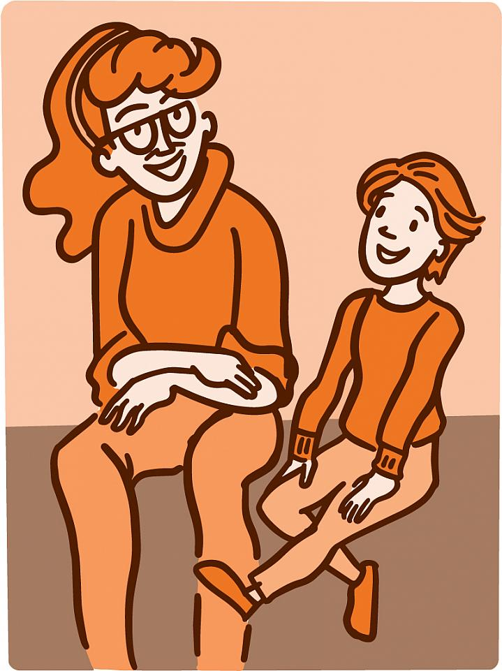 Illustration of a mother speaking with her child