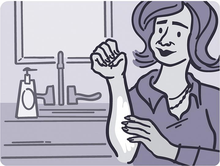 Illustration of a person putting cream on their arm