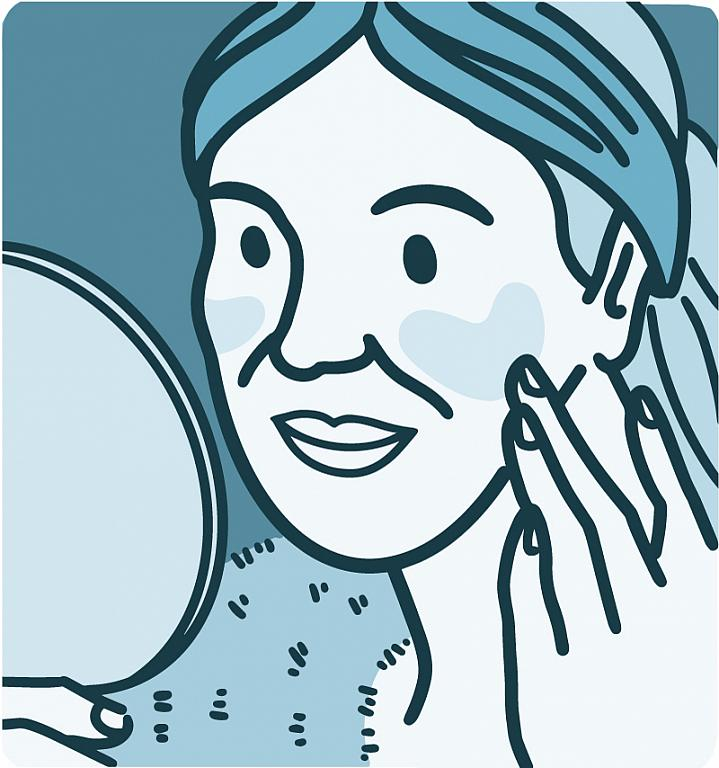 Illustration of a woman touching rosacea patches on her cheeks