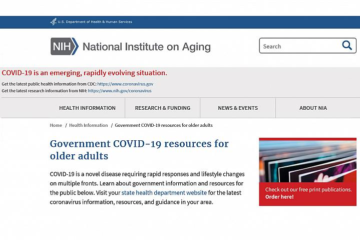 Screenshot of the Covid Resources for Older Adults website