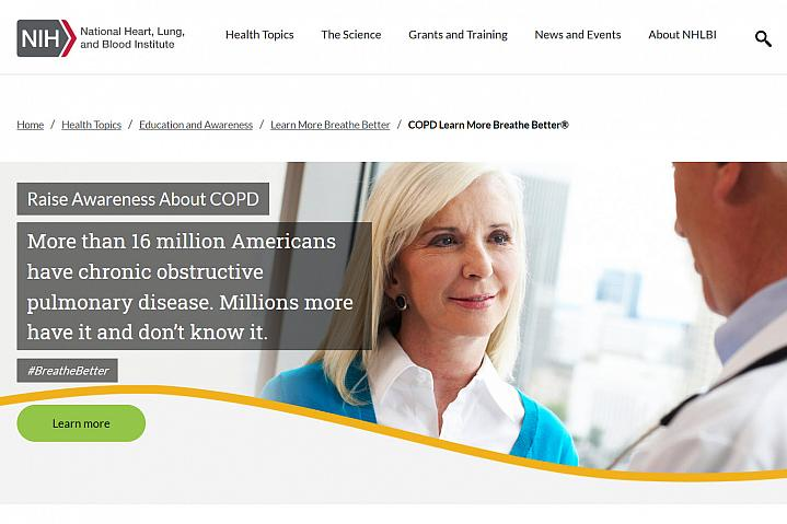 Screenshot of the COPD Breathe Better website