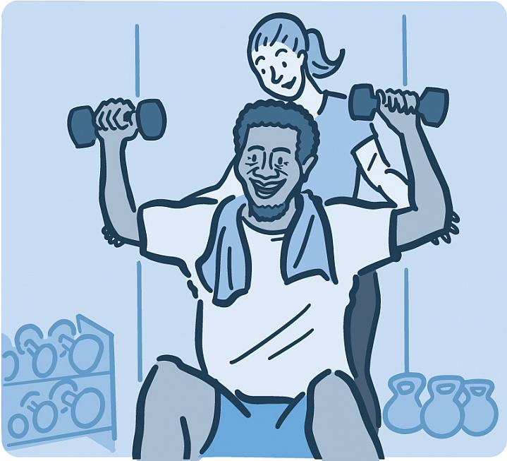Illustration of a man lifting weights with a personal trainer