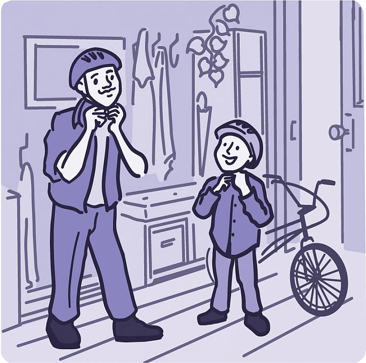 Illustration of a father and son putting on biking helmets