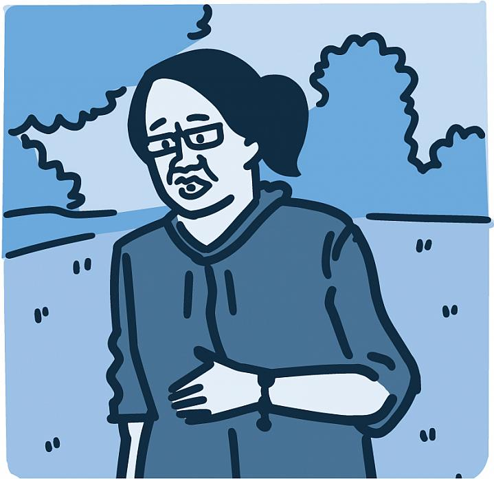 Illustration of a woman having trouble breathing while walking outside