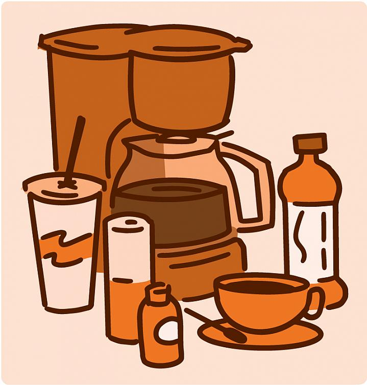 Illustration of products containing caffeine, including coffee and tea