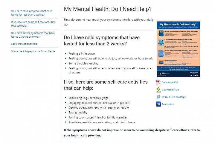 Screenshot of the My Mental Health website